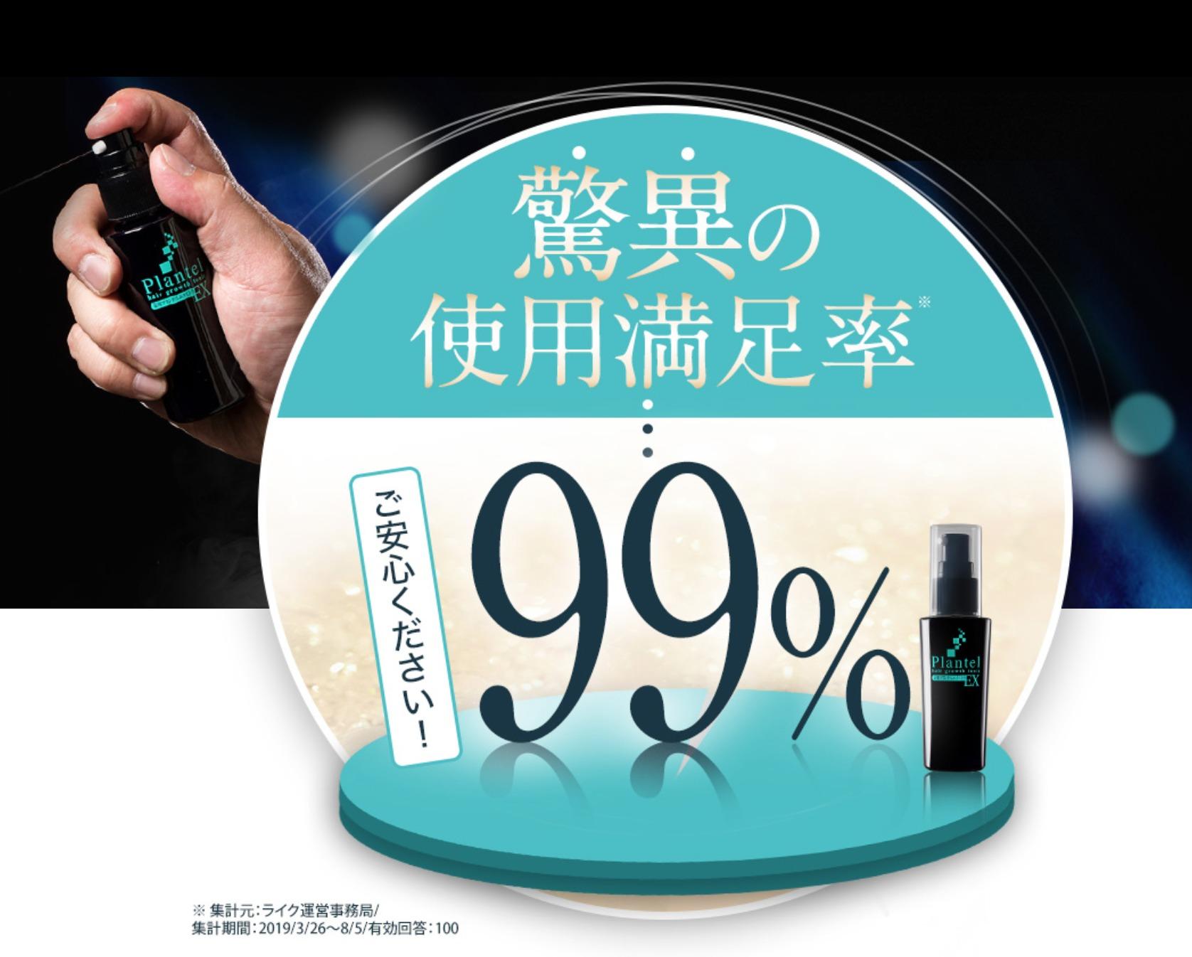 プランテル使用満足度99%