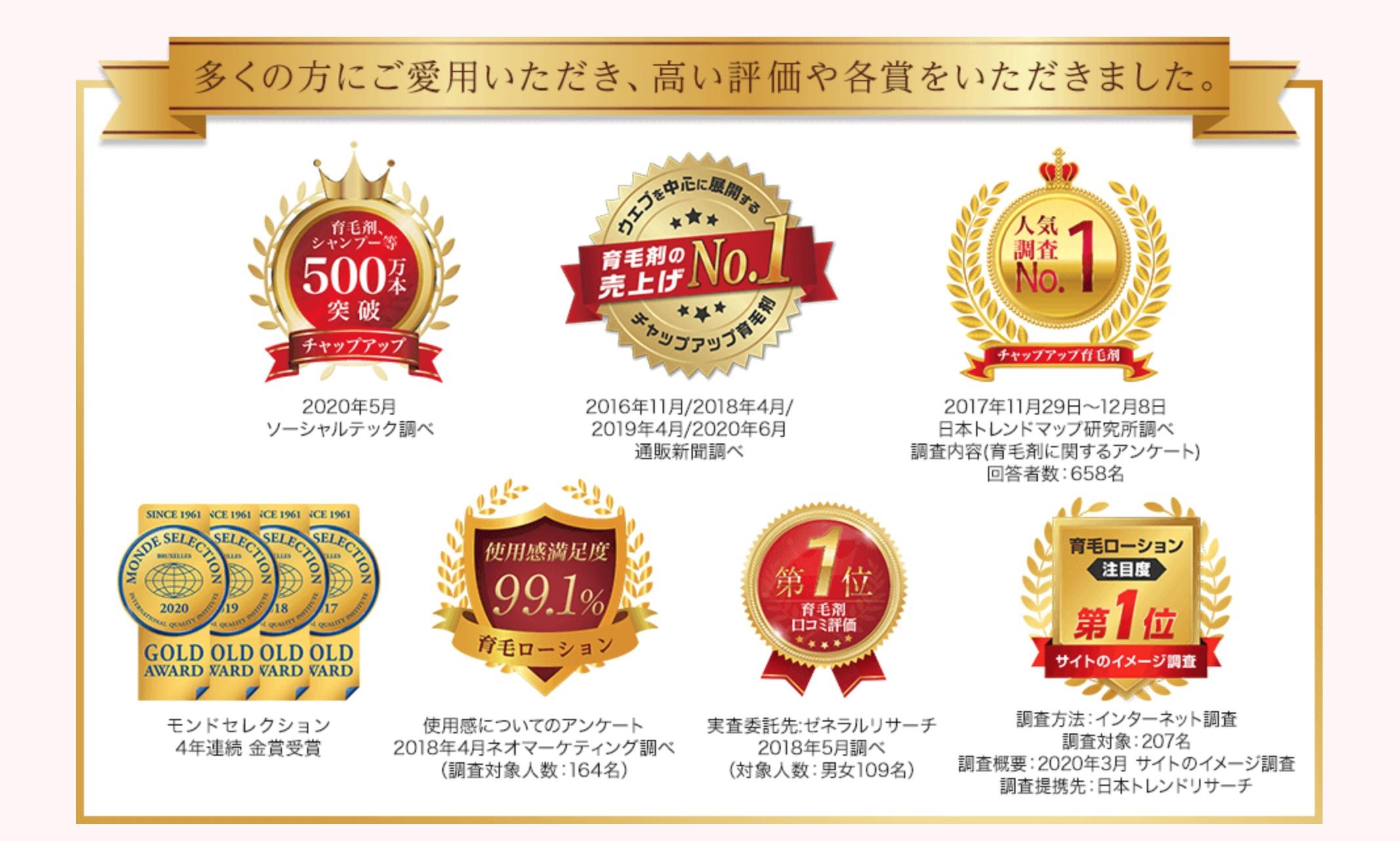 チャップアップの様々な受賞履歴